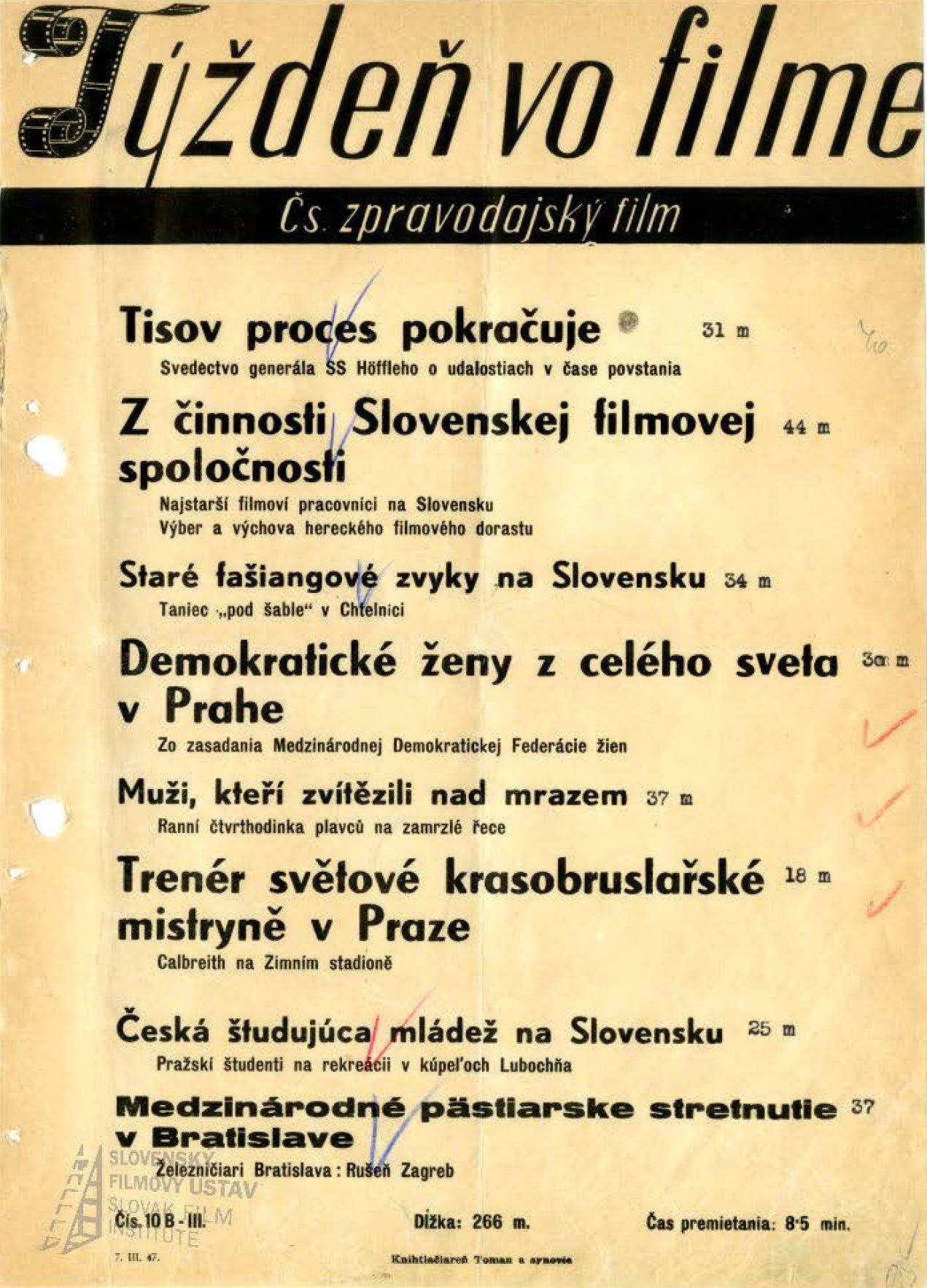 Týždeň vo filme 10/1947