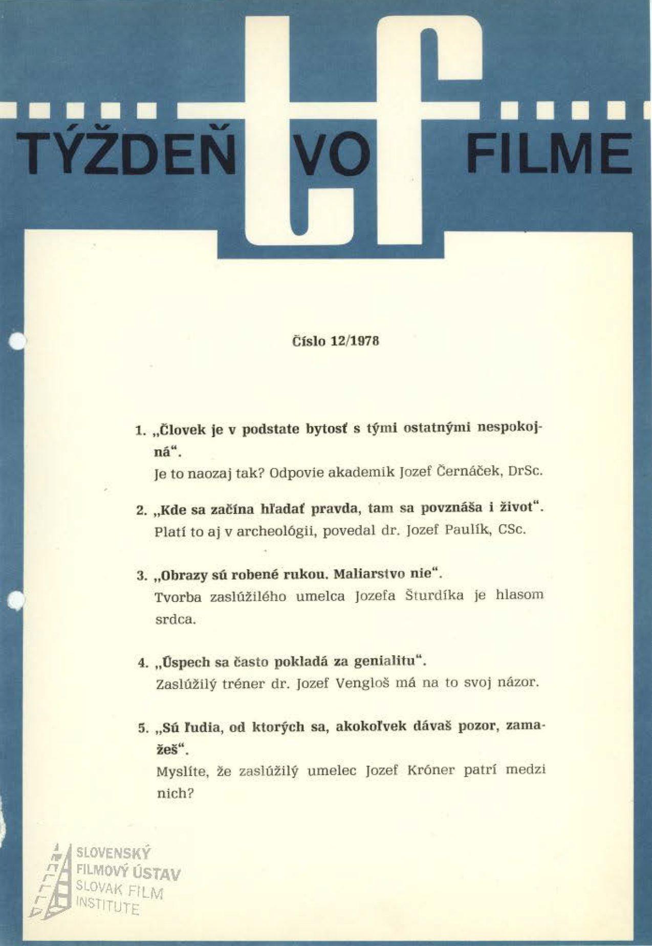 Týždeň vo filme 12/1978