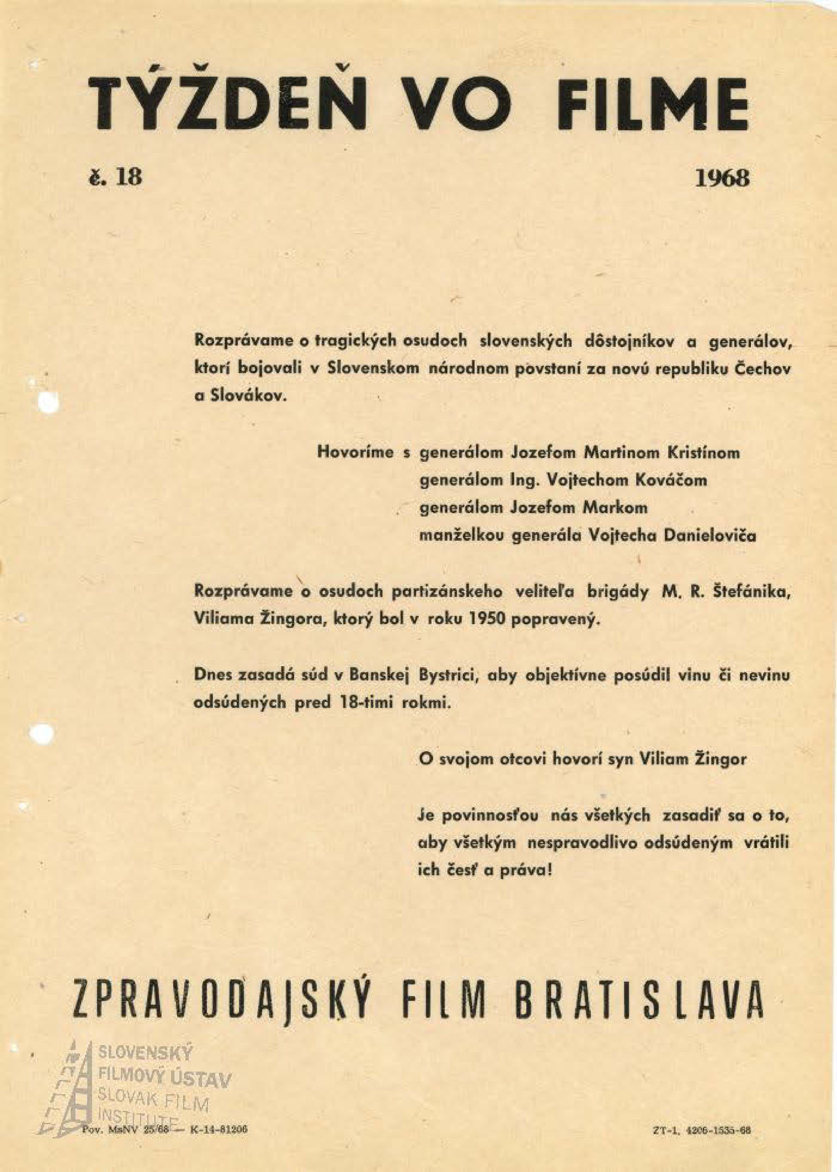 Týždeň vo filme 18/1968