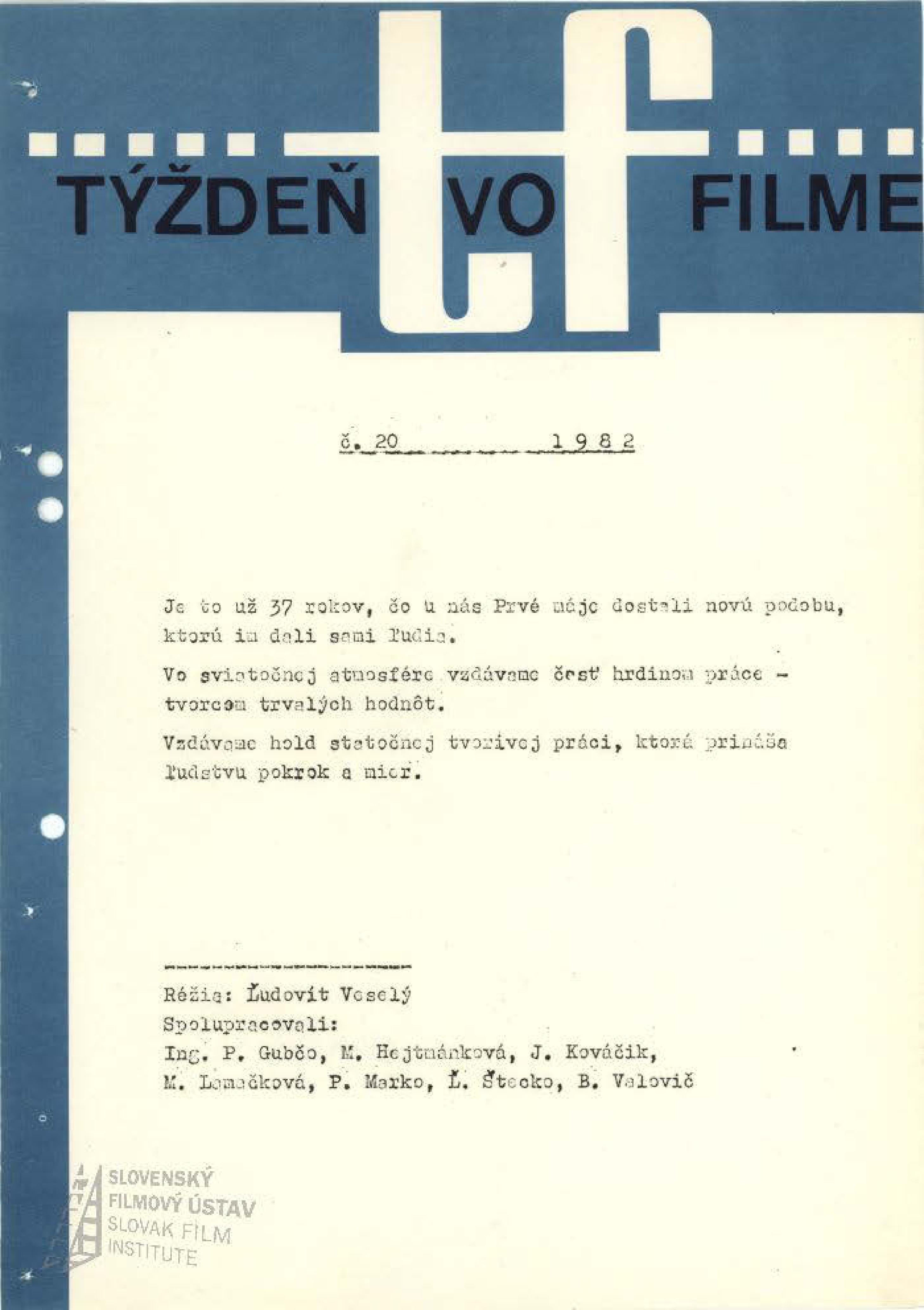 Týždeň vo filme 20/1982
