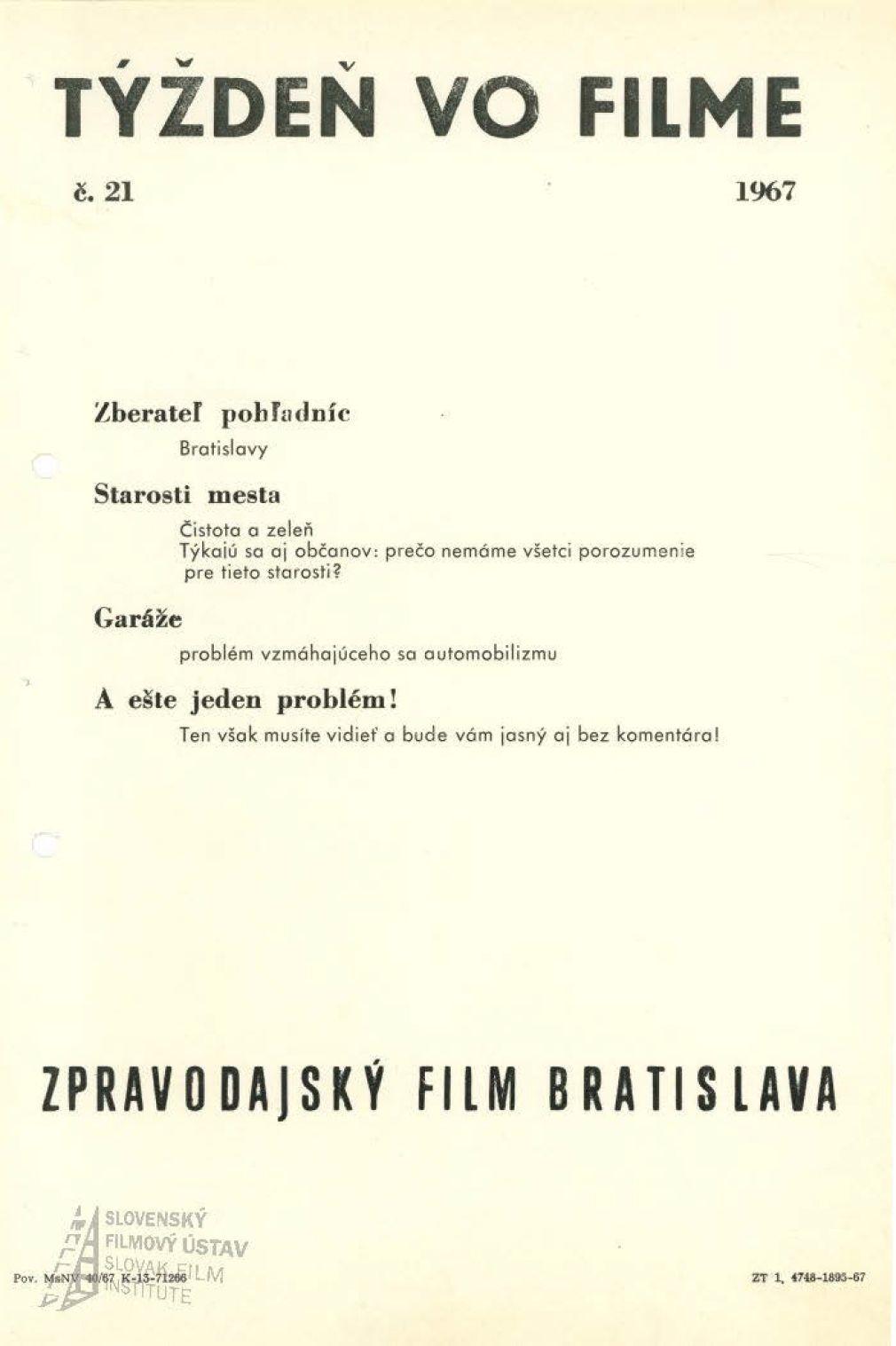 Týždeň vo filme 21/1967