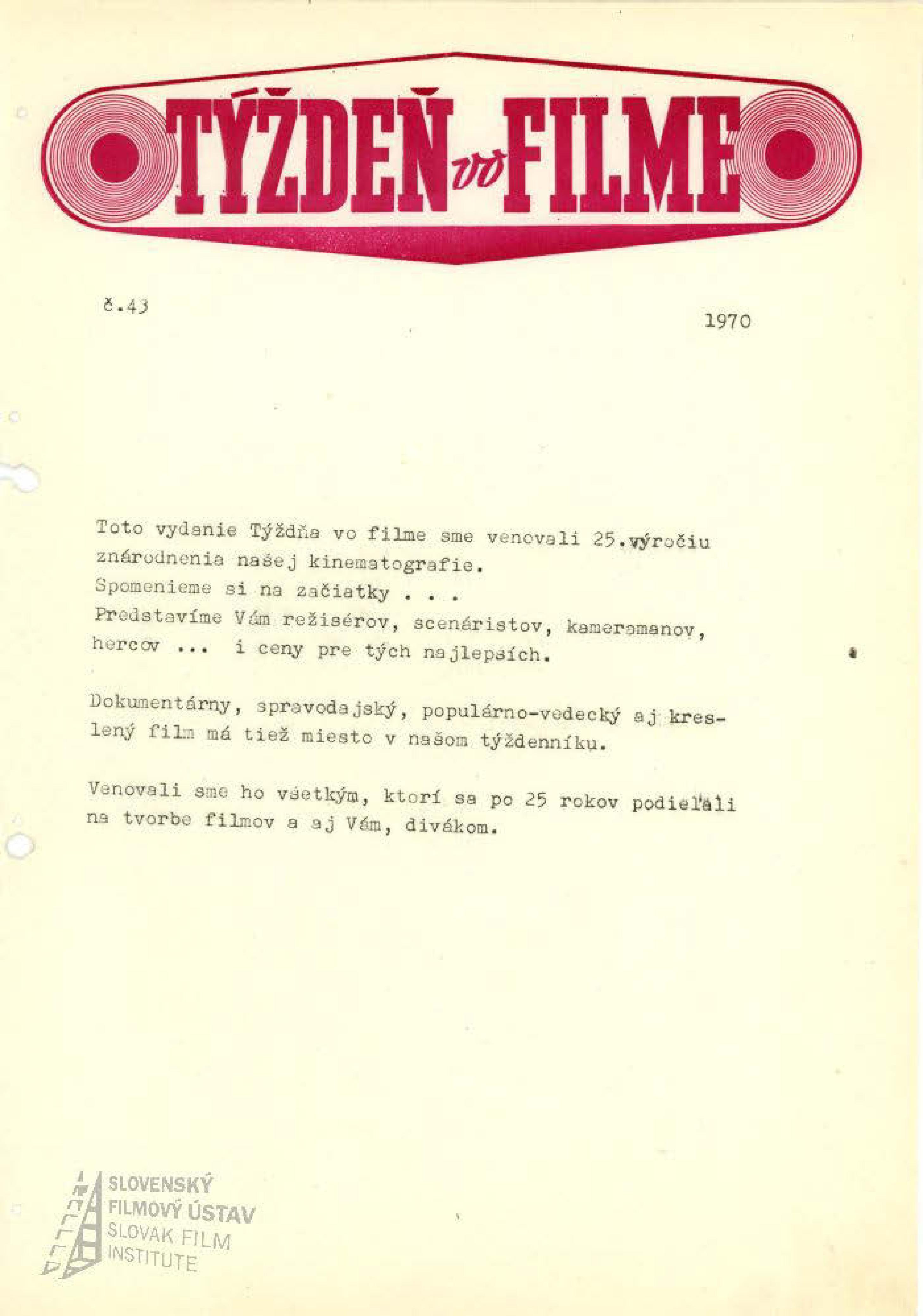 Týždeň vo filme 43/1970