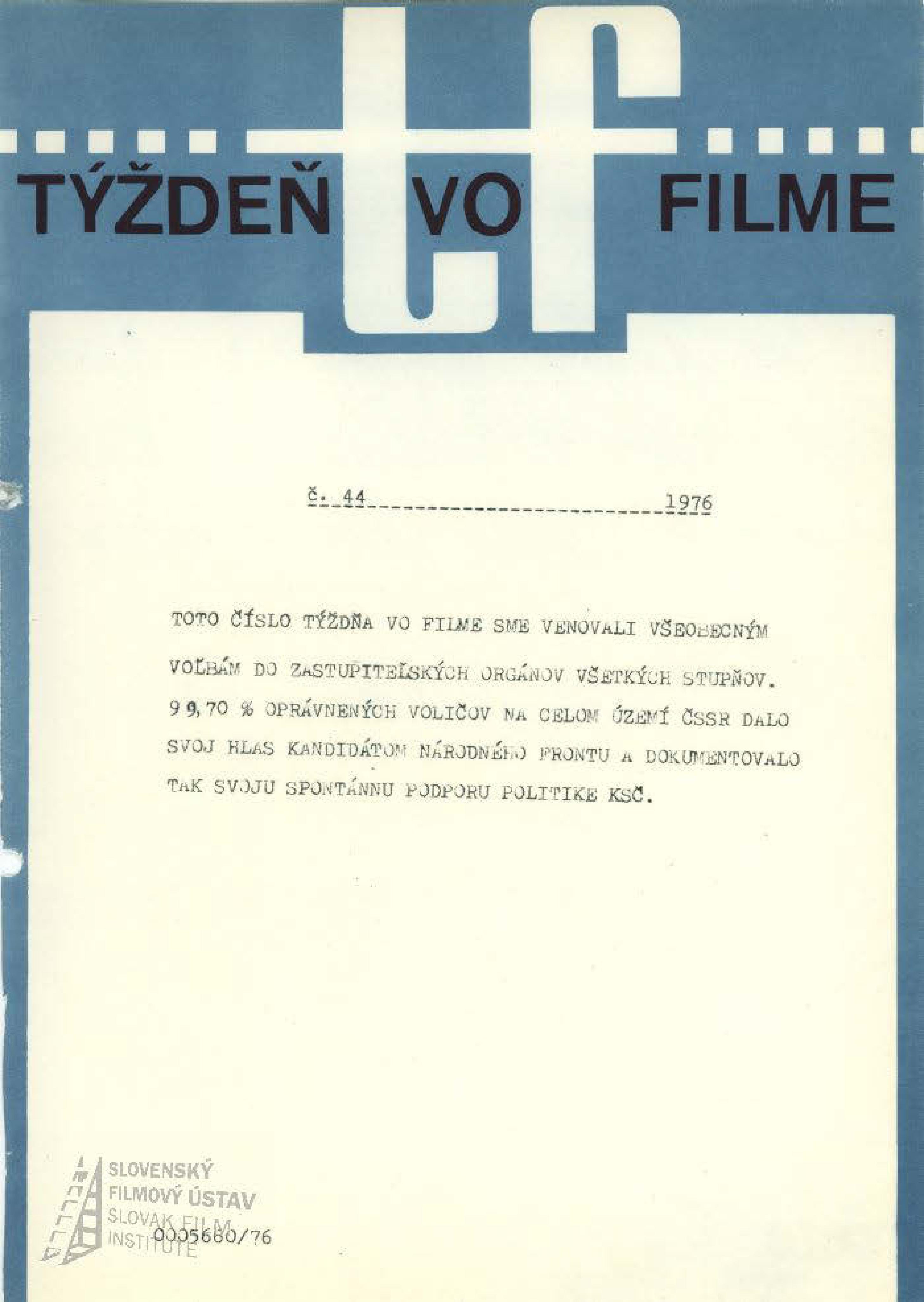Týždeň vo filme 44/1976
