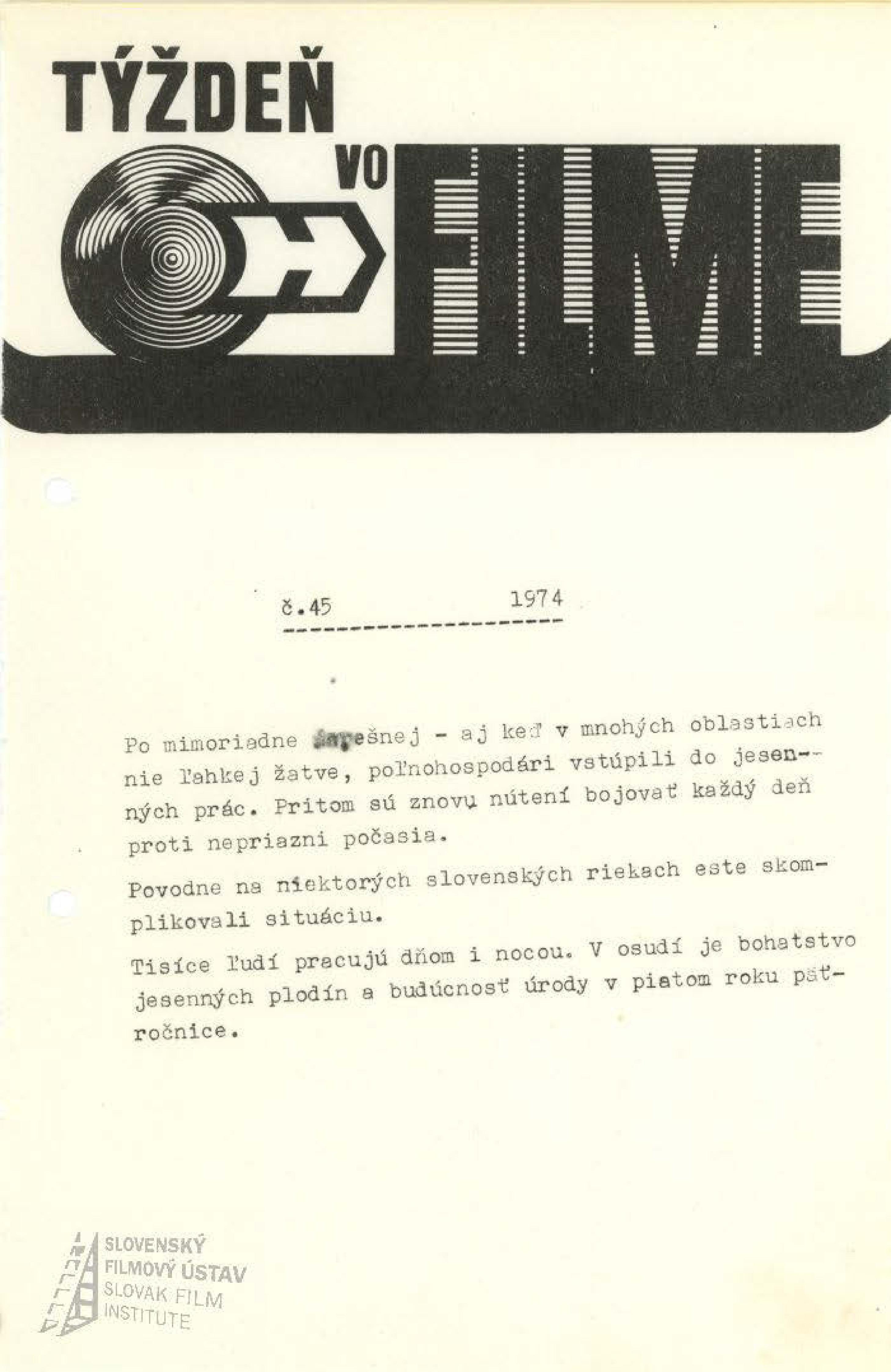 Týždeň vo filme 45/1974