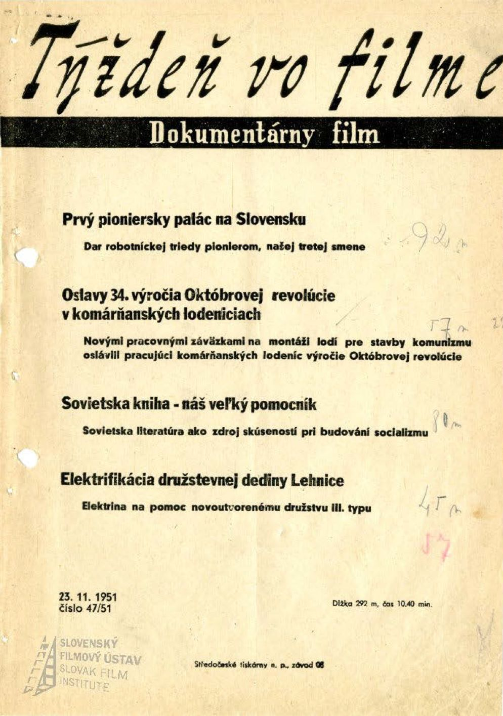Týždeň vo filme 47/1951